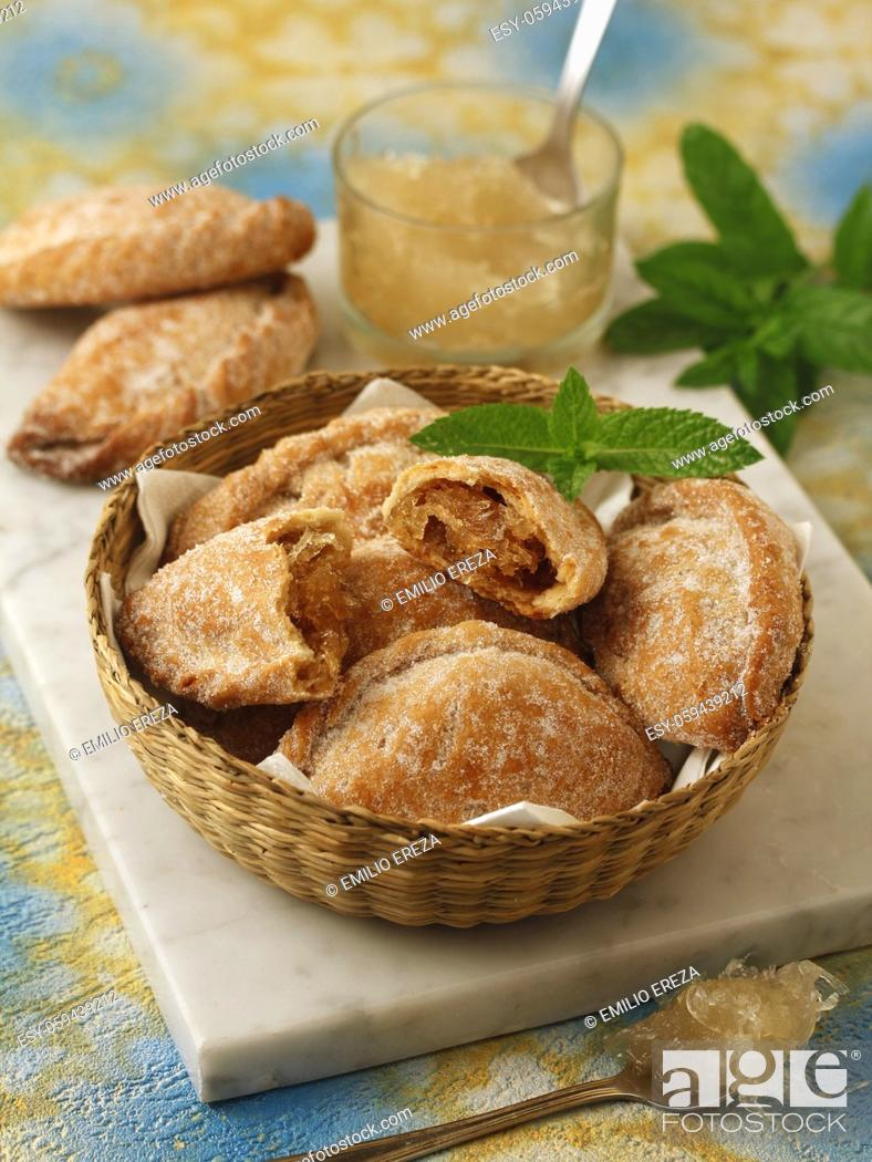 Stock Photo: Pastissets. Typical food from Catalonia, Spain. Filled with sweet pumpkin.