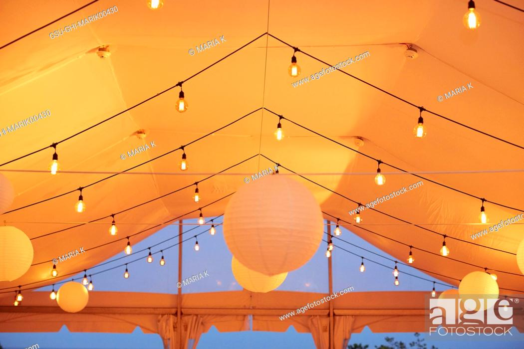 Lights And Paper Lanterns In Wedding Tent Stock Photo Picture And Rights Managed Image Pic Gsu Ghi Marik00430 Agefotostock