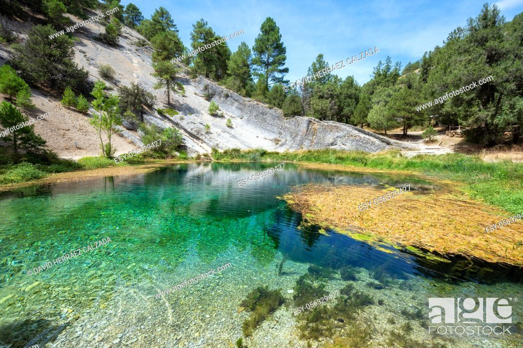 Stock Photo: Natural water source of Fuentona of Muriel in soria province, Castilla y Leon, Spain. High quality photo.