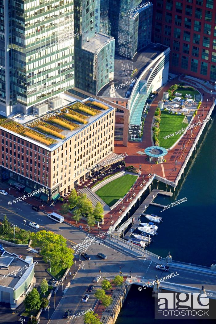 """Stock Photo: Aerial Fort Point Channel, Intercontinental Hotel, Boston, MA showing """"""""Green Roof"""""""" center, USA."""