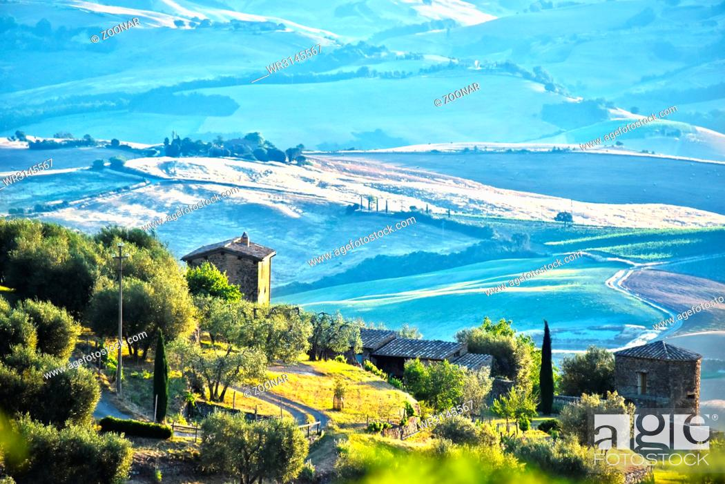 Stock Photo: Landscape view of Val d'Orcia.