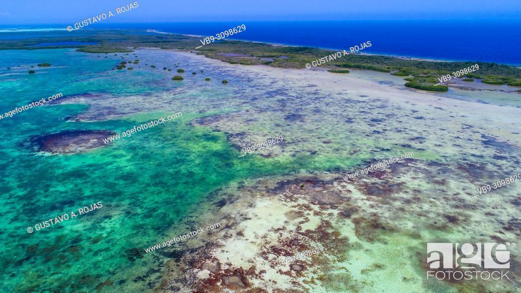 Stock Photo: Aerial View, nube verde island, los roques venezuela.