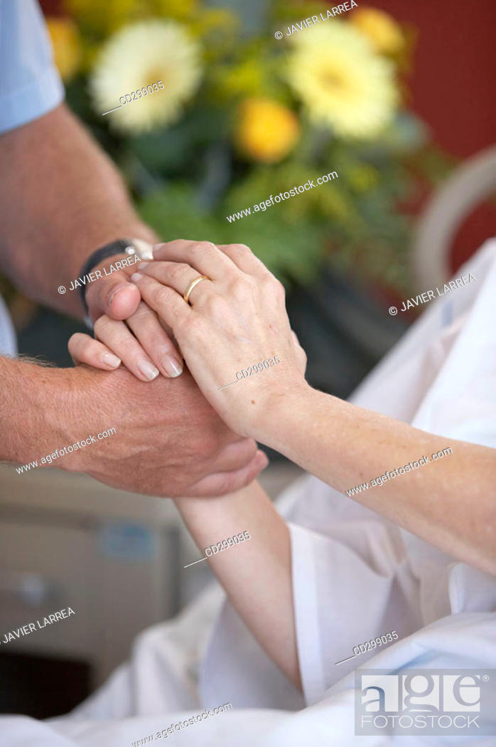 Stock Photo: Patient and relative in hospitalization.