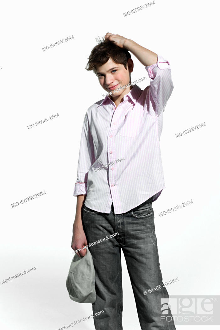 Stock Photo: Boy scratching his head.