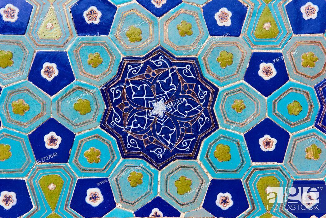 Stock Photo: Uzbekistan, Samarkand, Unesco World Heritage, Shah i Zinda mausoleum, blue tile.