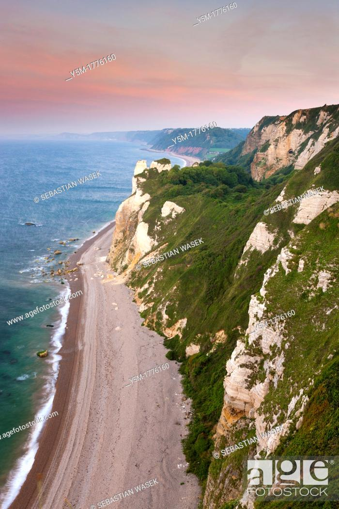 Stock Photo: Hooken Cliffs and Hooken Beach from Beer Head, Lyme Bay, Jurassic Coast part of the South West Coast Path, Beer, Devon, England, UK.