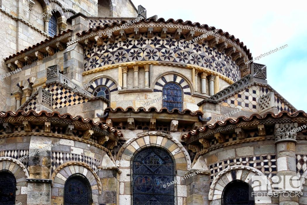 Stock Photo: Romanesque Basilica of Notre-Dame du Port, chevet and mosaics, Port quarter - historic part of Clermont-Ferrand between Place Delille and the cathedral.