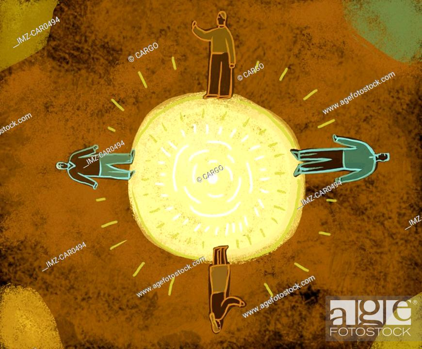 Stock Photo: Four people standing at 4 different points on a sun.