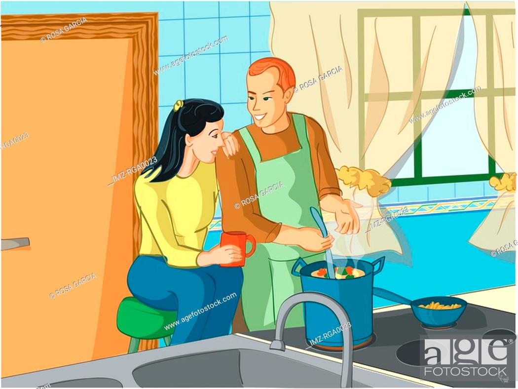 Stock Photo: man cooking for his wife.