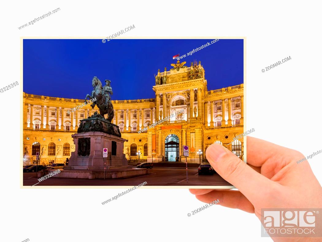 Photo de stock: Hand and Hofburg palace in Vienna Austria (my photo) isolated on white background.