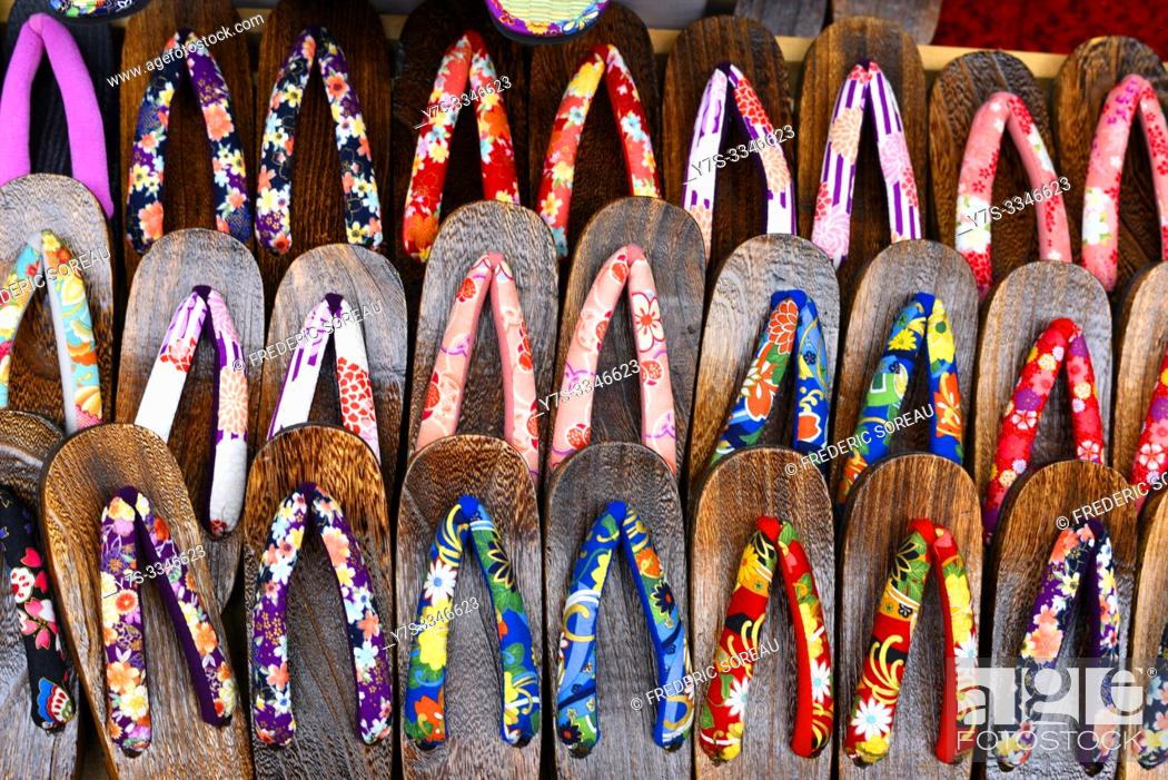 Stock Photo: Traditional slippers for sale, Japan, Asia.