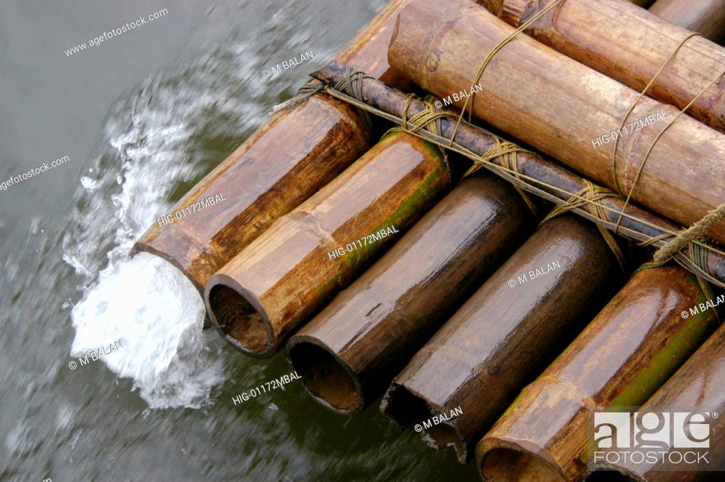 Stock Photo: BAMBOO RAFT IN PERIYAR LAKE.