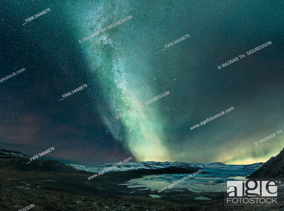 Stock Photo: Aurora Borealis and the Milky Way, Hoffellsjokull Glacier, Iceland.