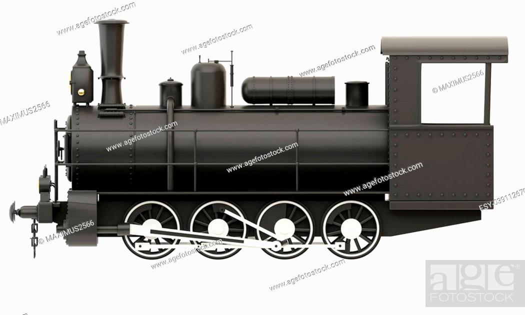 Stock Photo: Old steam train isolated on white background.