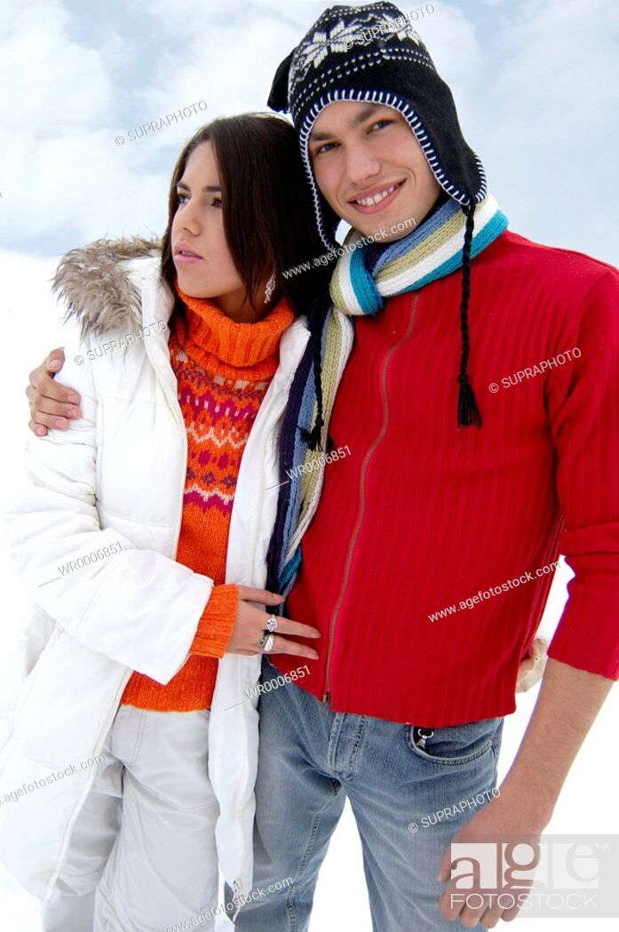 Stock Photo: Color Image, Young, Nature, Mountain, Winter, Teenager, Coloured, Colorful, White, Place, Red, Knit, Clothing, Pullover, Sweater, Jumper, Garment, Knitted Hat, Colors