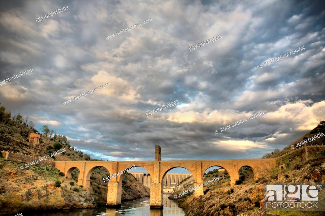 Stock Photo: Roman bridge of Alcantara. Dates from de II century B.C. It was very important over the history as a strategic point to cross the Tagus river during Roman.