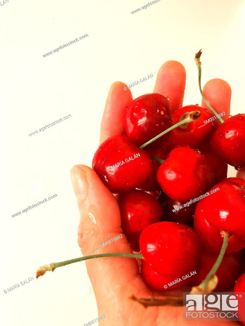 Stock Photo: Handful of cherries.