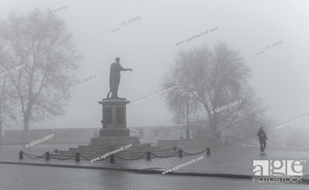 Stock Photo: Odessa, Ukraine. Monument to Duke Richelieu in Odessa, Ukraine, on a foggy autumn day.