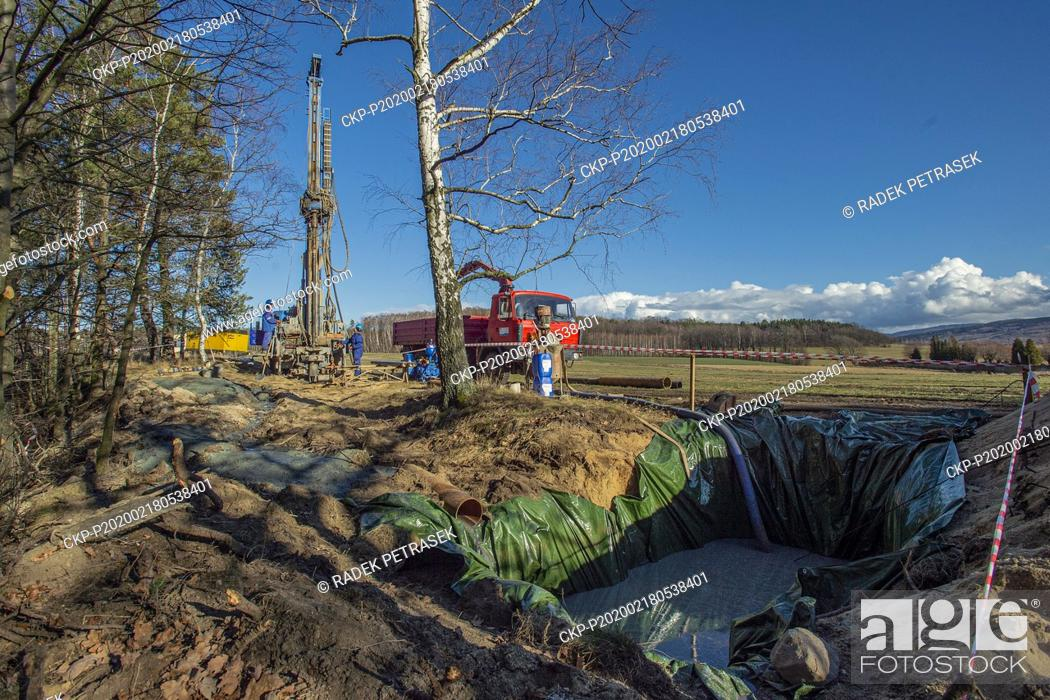 Stock Photo: Ongoing construction of the network of water boreholes for monitoring of Turow mining impacts in the surroundings of the Turow open-pit lignite mine.