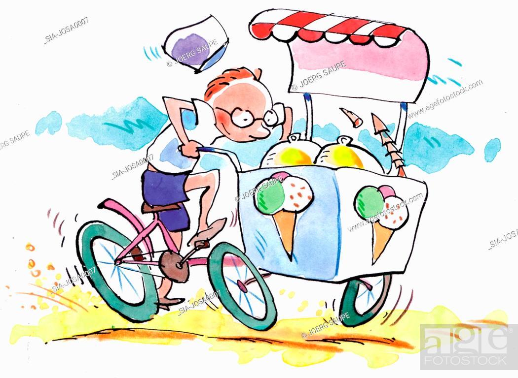 Imagen: Man riding on ice-cream cart.