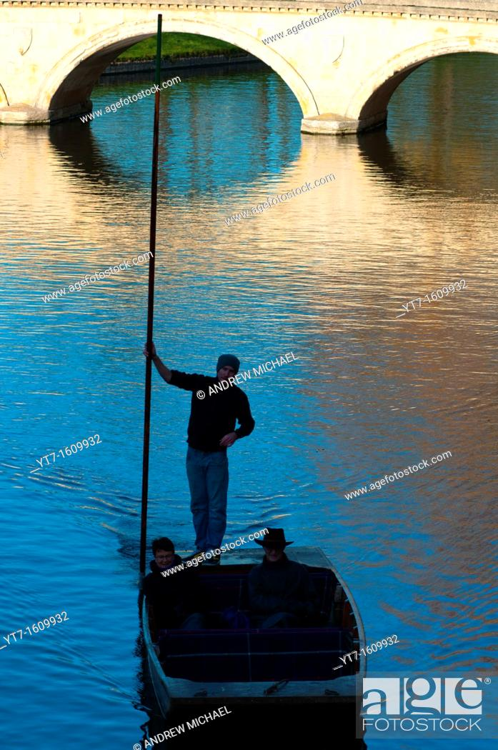 Stock Photo: Punting silhouette on river Cam, Cambridge England.