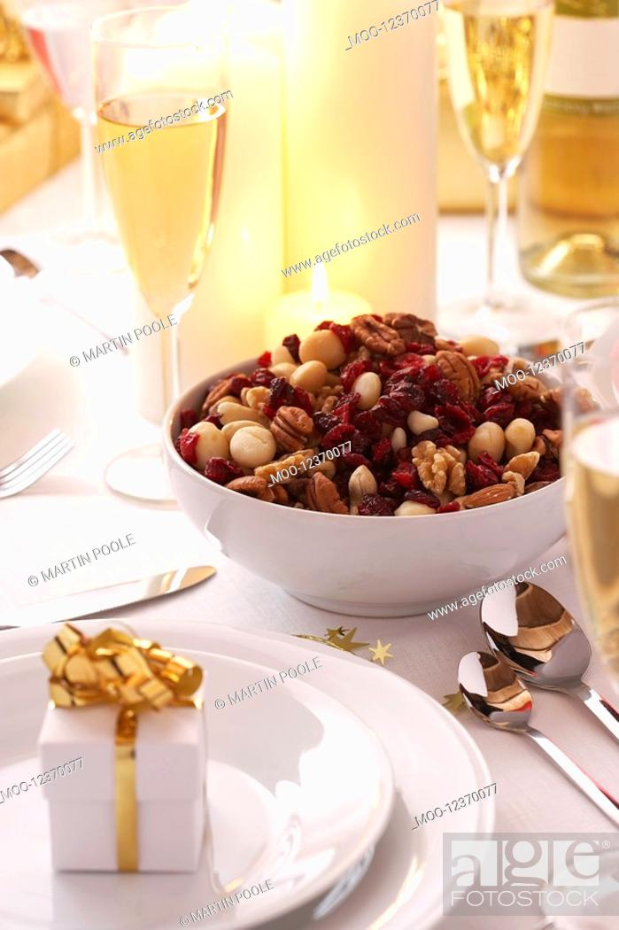 Stock Photo: Place setting at Christmas.