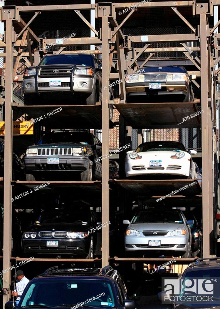 Stock Photo: Stacked Parking Storage garage Manhattan New York City USA.