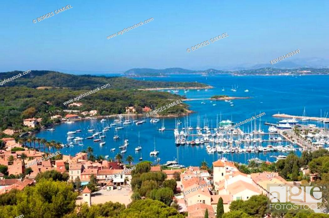 Stock Photo: View of Porquerolles island marina in France.