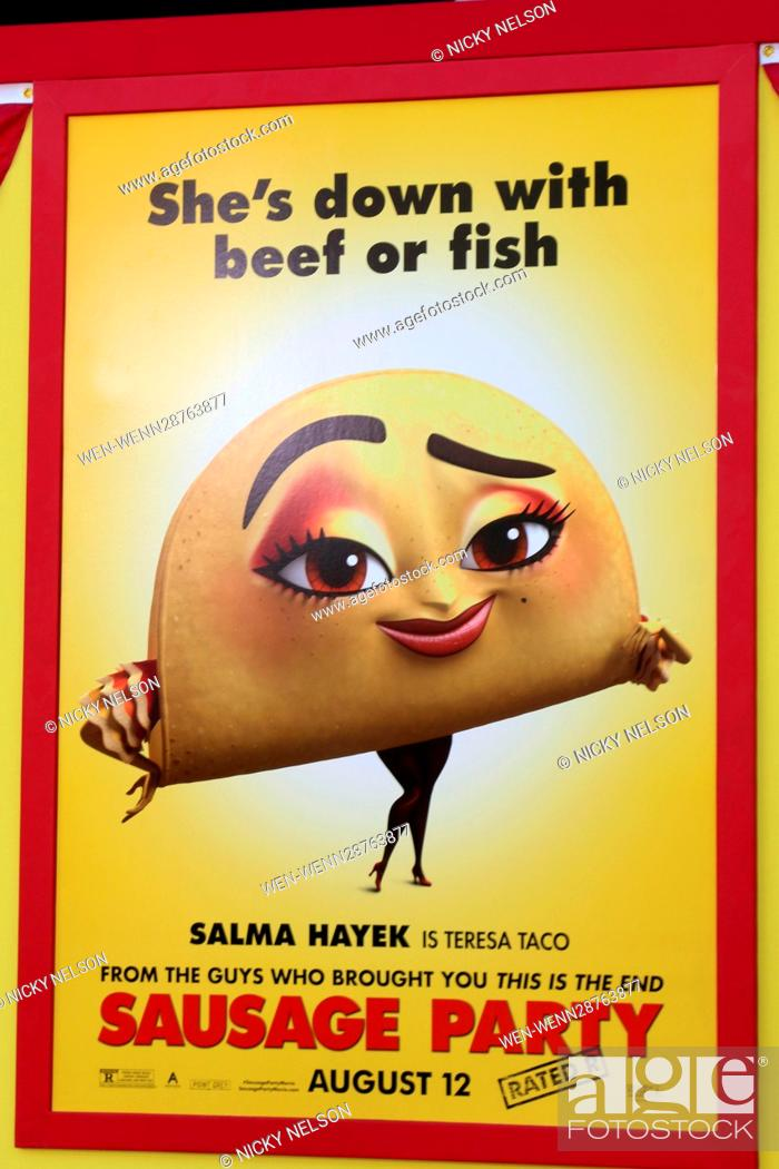 """Stock Photo: """"""""""""Sausage Party"""""""" Premiere at the Village Theater on August 9, 2016 in Westwood, CA Featuring: Sausage Party Poster featureing Teresa Taco Where: Westwood."""
