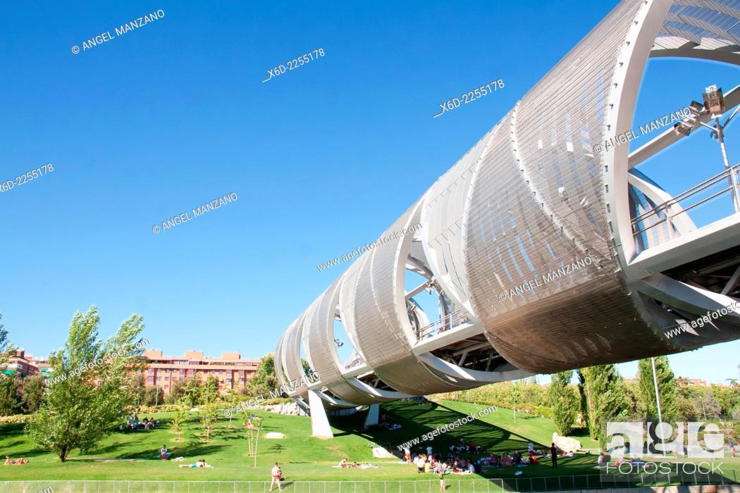 Stock Photo: Monumental bridge of La Arganzuela or Perrault bridge, Madrid.
