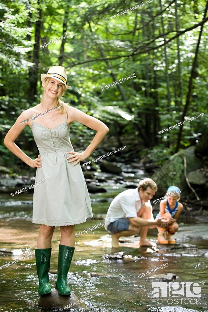 Stock Photo: Family at river.