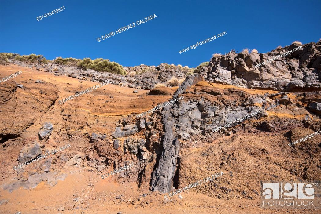 Stock Photo: Geological detail of lava walls in Teide national park, Tenerife, Canary island, Spain.