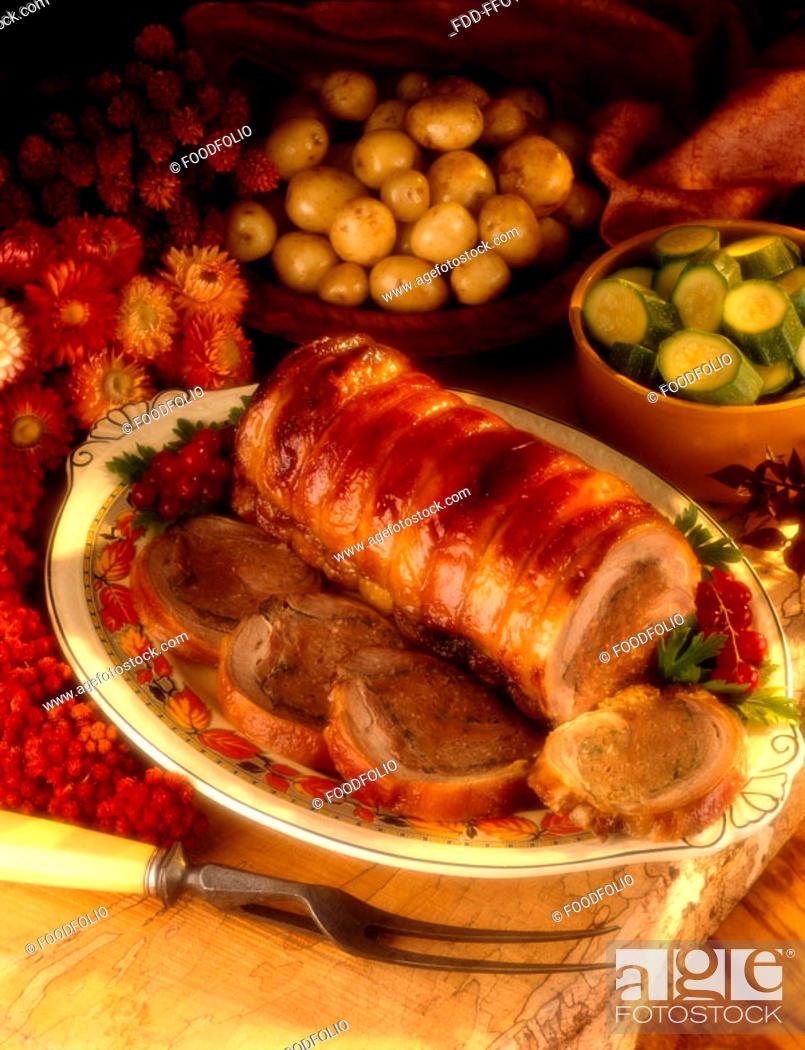 Stock Photo: Stuffed roast pork.