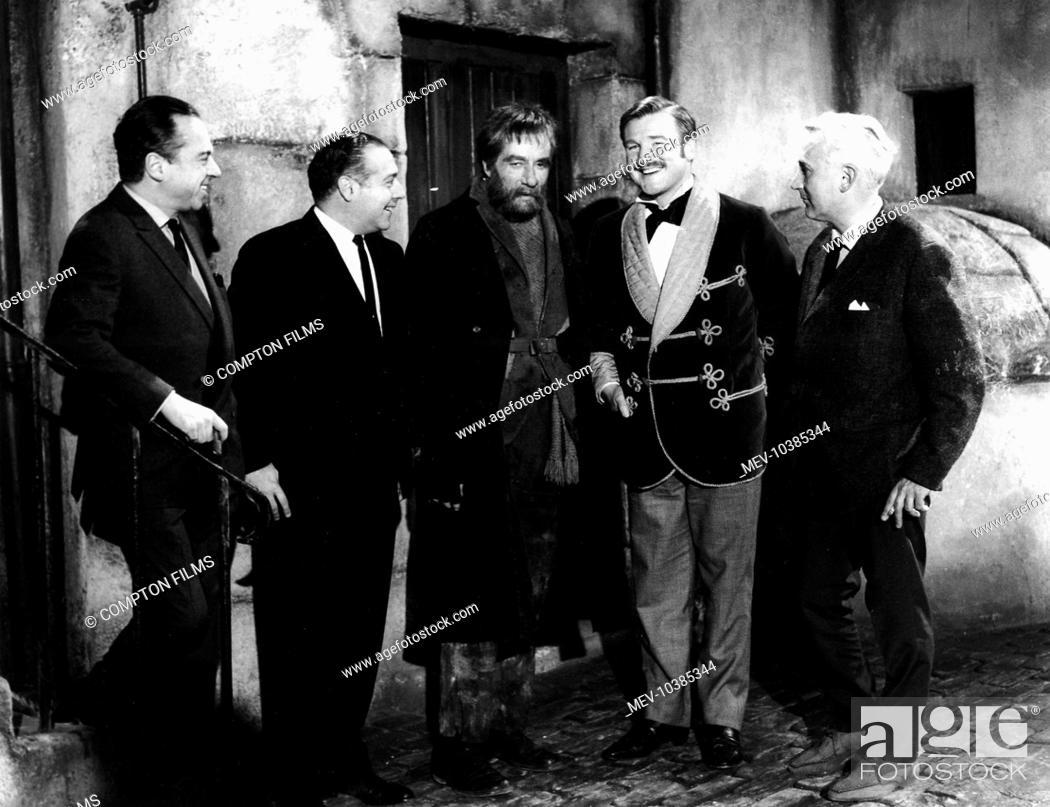 Stock Photo: A STUDY IN TERROR Producer HENRY E. LESTER, Executive Producer HERMAN COHEN, JOHN NEVILLE as Sherlock Holmes, DONALD HOUSTON as Dr.
