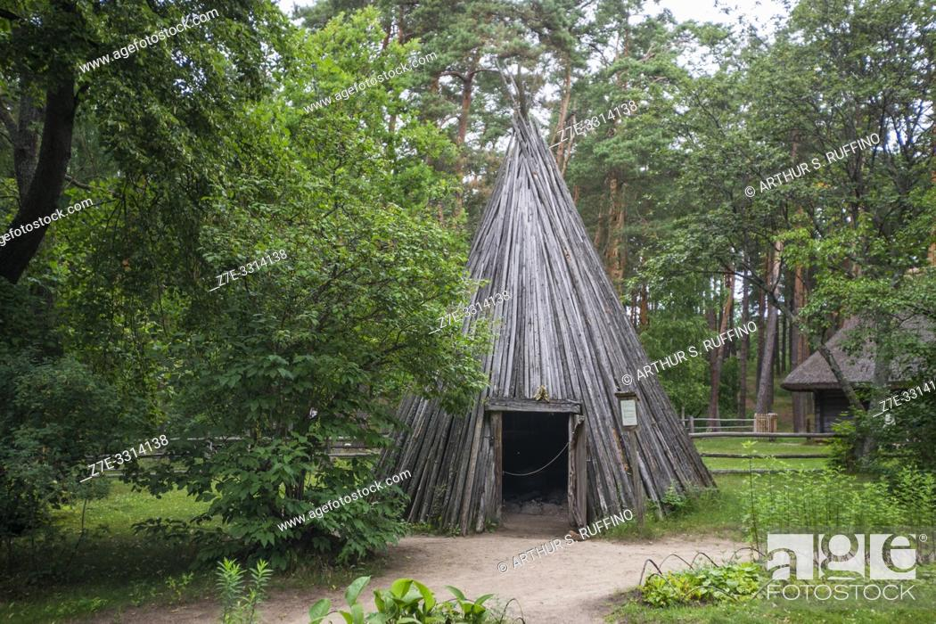 Stock Photo: The Upright Summer Cook House. Traditional architecture of the provinces. Latvian Ethnographic Open-Air Museum. Riga, Latvia, Baltic States, Europe.