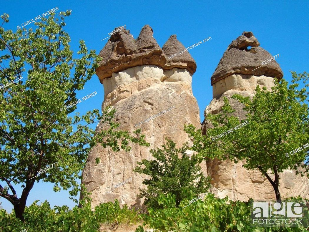 Stock Photo: Cappadocia rock formations.