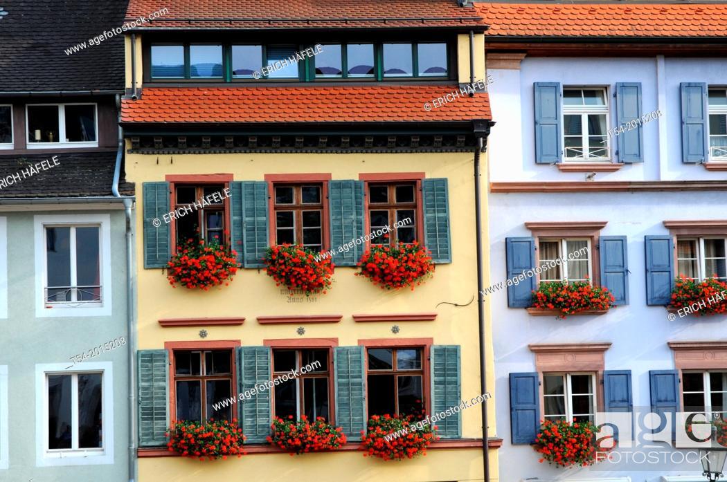 Stock Photo: Facades and windows of old houses of Freiburg im Breisgau.