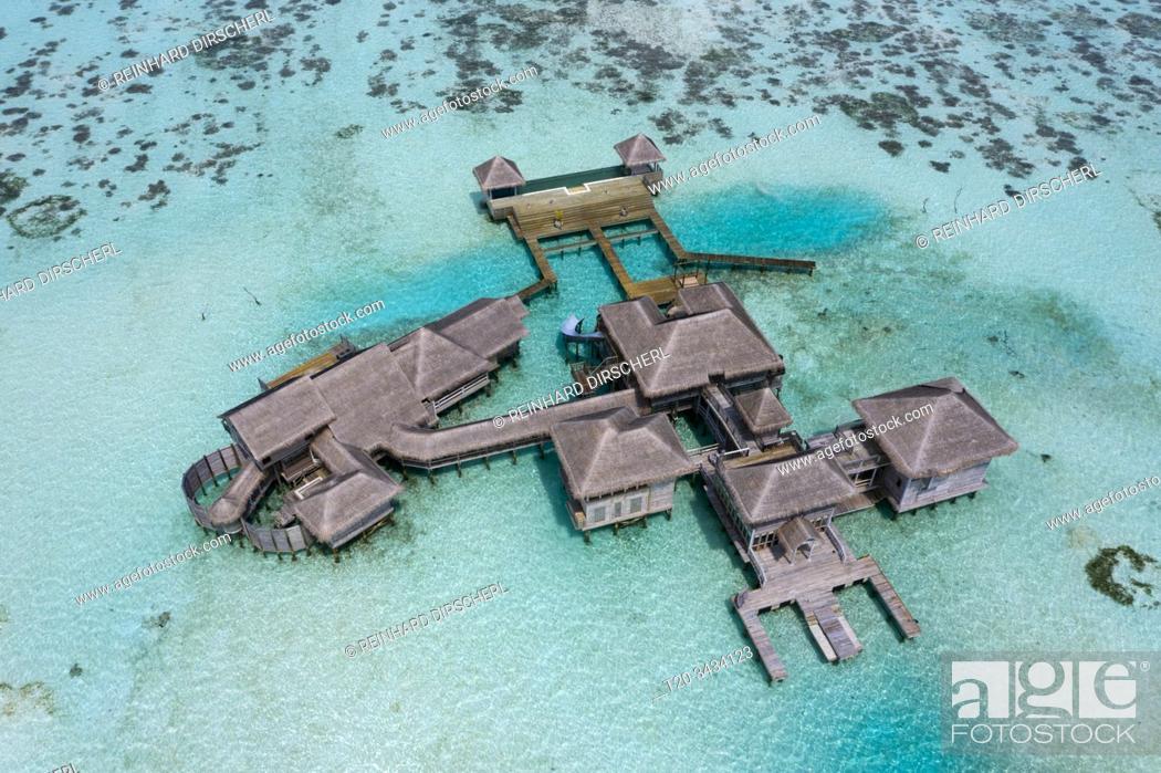Stock Photo: Aerial View of Vacation Island Lankanfushi, North Male Atoll, Indian Ocean, Maldives.