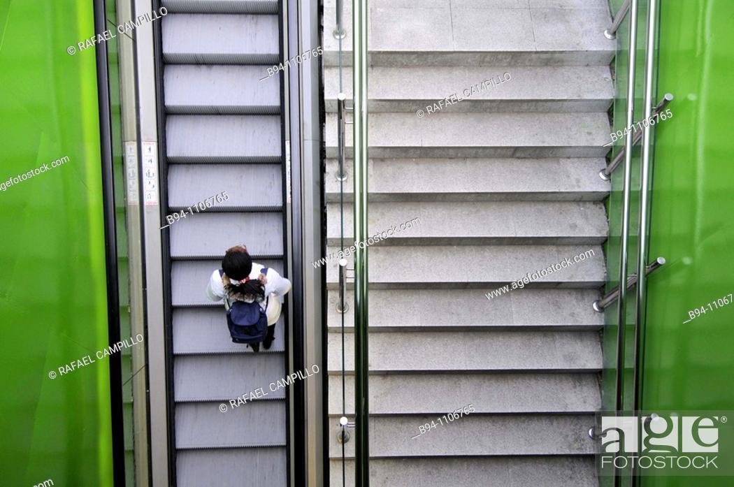 Stock Photo: Metro station stairs, Barcelona, Catalonia, Spain.