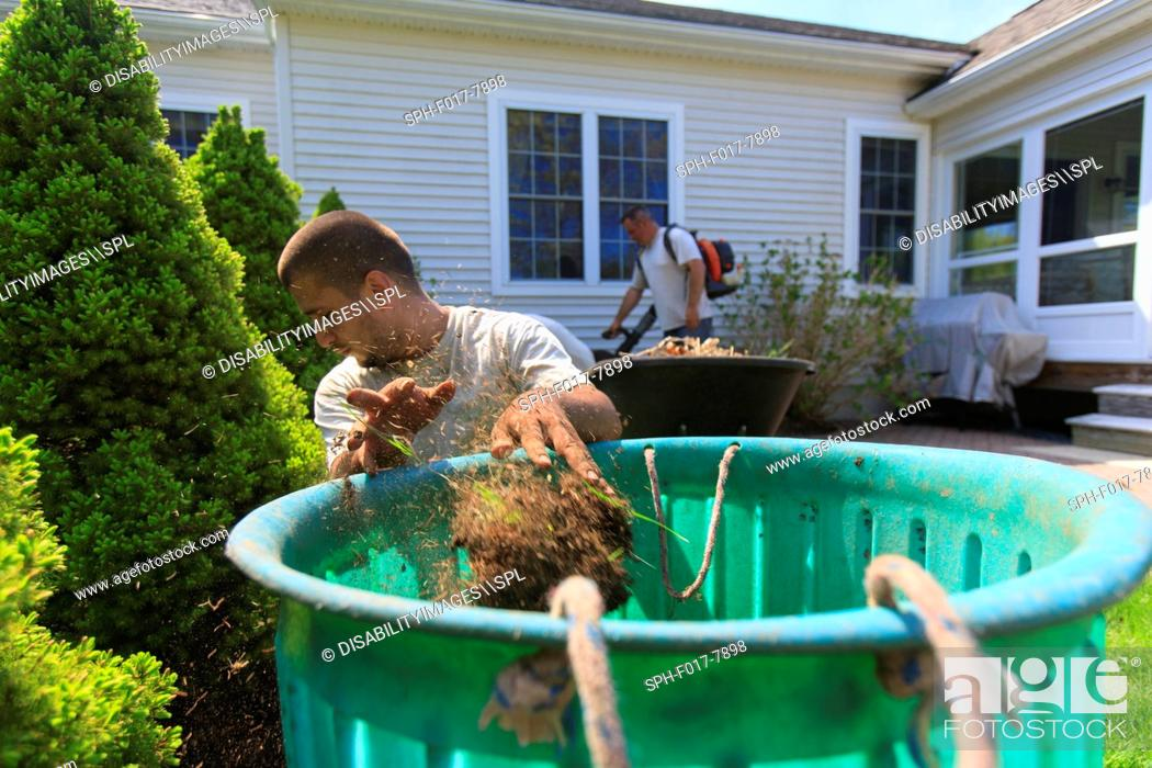 Stock Photo: Landscapers clearing weeds into a bin at a home garden and using a blower for cleaning.