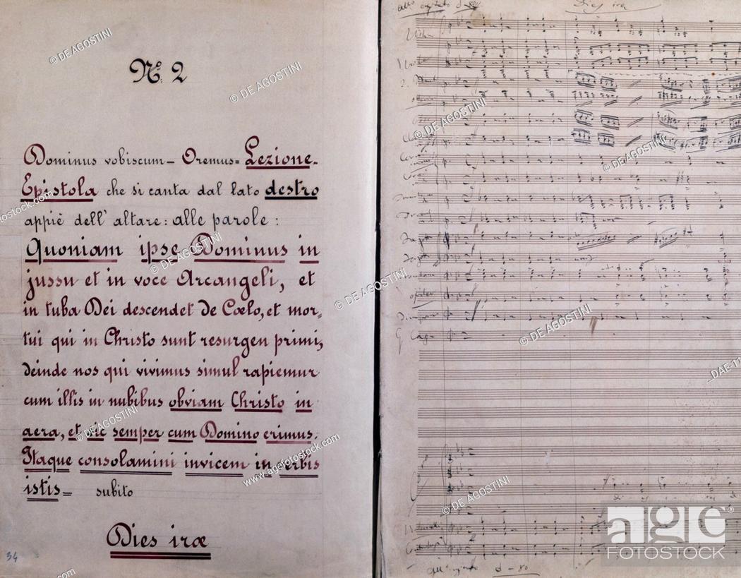 Stock Photo: Sheet music of Dies Irae by Giuseppe Verdi (1813-1901).  Milan, Museo Teatrale (Scala).
