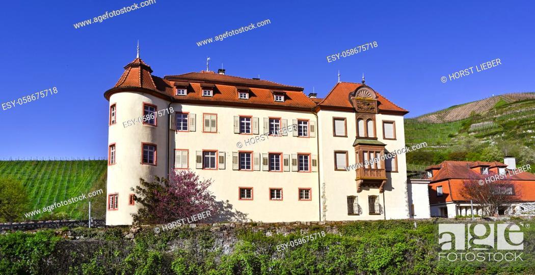Stock Photo: The beautiful Schloss Neuweier winery between Sinzheim and Buehl. Baden Wuerttemberg, Germany, Europe.
