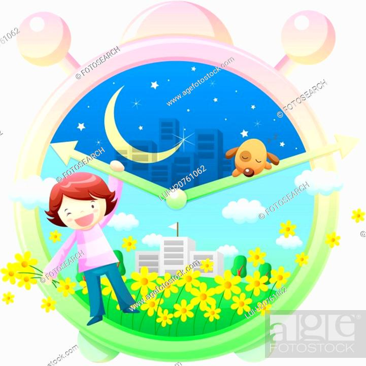 Stock Photo: night, teeth, day, clock, childhood, girl.