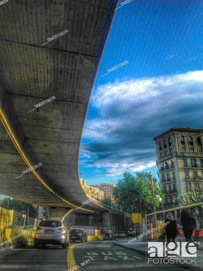Stock Photo: Glories Square, before the demolitiion of the bridge. Barcelona, Catalonia.