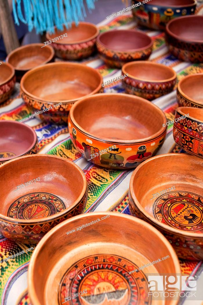 Stock Photo: Close-up shot of wooden bowls at the open-air market in Pisac, Sacred Valley, Cusco Region, Peru, South America.