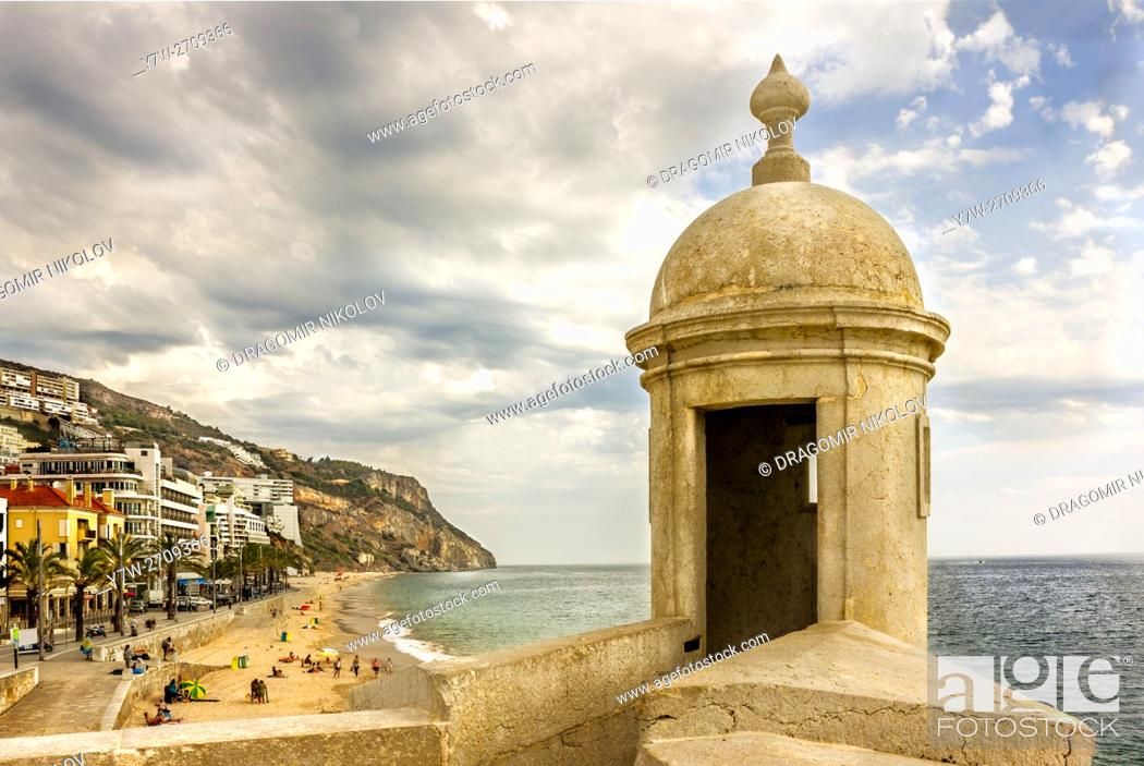 Stock Photo: Beach of Sesimbra. The resort is situated in Portugal close to capital Lisbon.