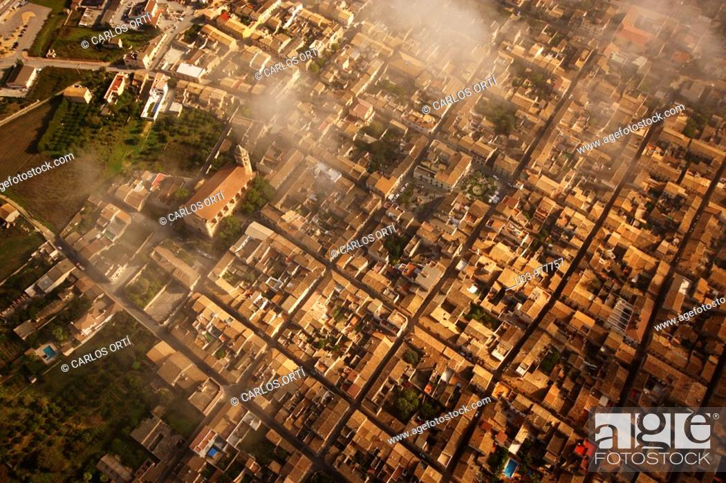 Stock Photo: Aerial view of the village of Petra, Mallorca Island, Spain.