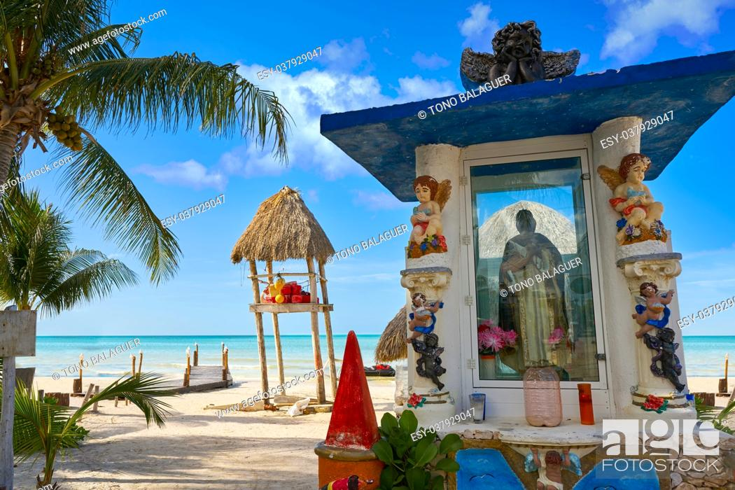 Stock Photo: Holbox Island virgin statue in Quintana Roo of Mexico.