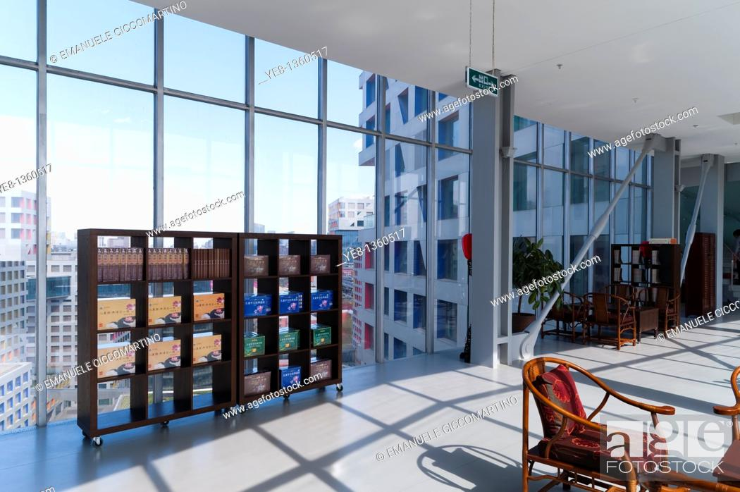 Stock Photo: Interior of a bridge, Moma Linked Hybrid complex by architect Steven Holl, 2009, Dongzhimen District, Beijing, China, Asia.