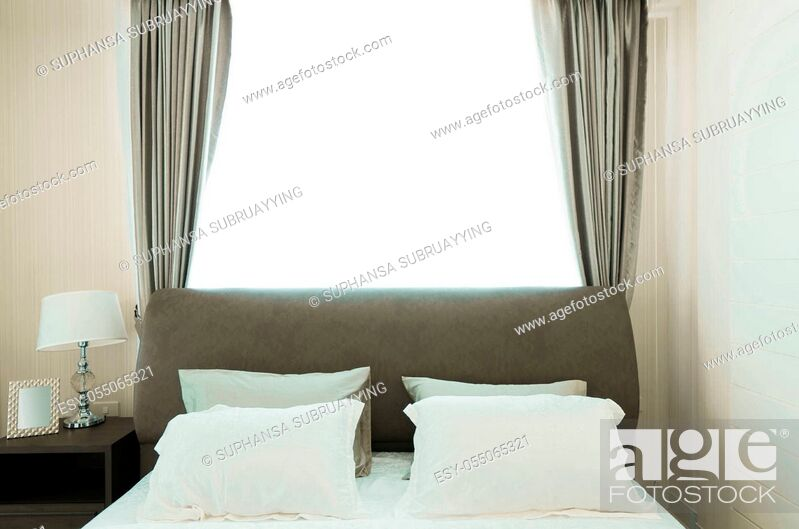 Stock Photo: Bedroom interiors concept. Modern bedroom style at home.